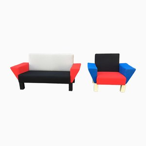 Sofa & Sessel von Ettore Sottsass für Knoll International, 1980er