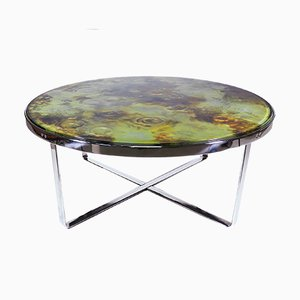Mid-Century Brutalist Crater Glass Coffee Table, 1970s