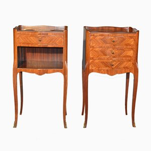 French Napoleon III Rosewood Bedside Tables, 1885, Set of 2