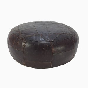Brown Leather Ottoman, 1960s