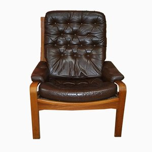 Danish Style Easy Chair in Brown Leather, 1960s