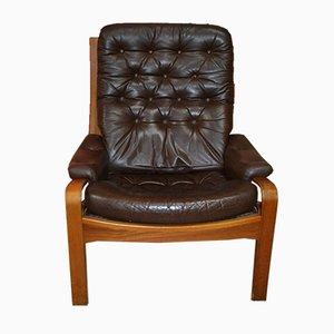 Poltrona estilo danés de cuero marrón, años 60