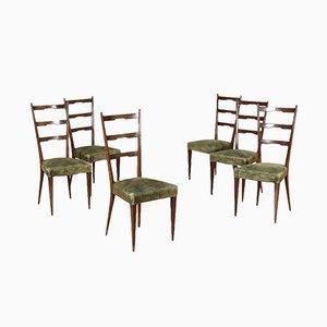 Chaises en Velours et Hêtre Teinté, 1950s, Set de 6