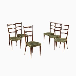 Stained Beech & Velvet Chairs, 1950s, Set of 6