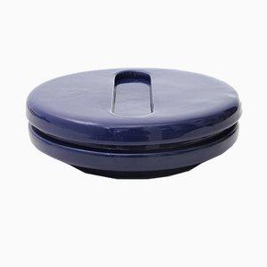 Posacenere Mid-Century in ceramica blu di Pino Spagnolo per Sicart, anni '60