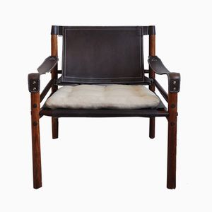 Vintage Sirocco Safari Chairs in Rosewood & Leather by Arne Norell, Set of 2