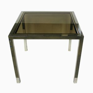 Table Vintage en Chrome et Laiton, France, 1970s