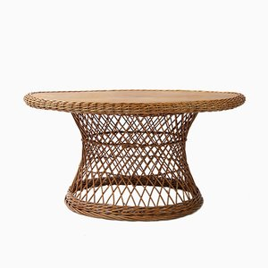 Oval German Rattan Coffee Table, 1960s
