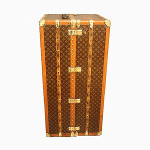 Baule vintage in ottone e tela di Louis Vuitton