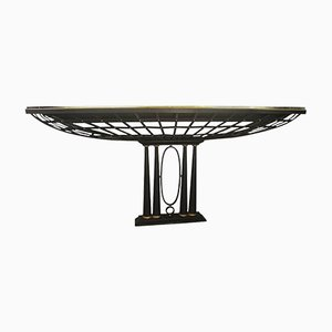 Vintage French Console Table in Black Wrought Iron and Gold