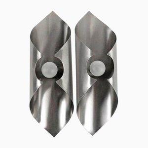 Applique in acciaio inossidabile, anni '70, set di 2