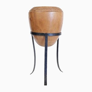 Large Mid-Century Modern Decorative Pot in Solid Wood