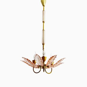 Art Deco Pink Murano Glass Chandelier, 1930s