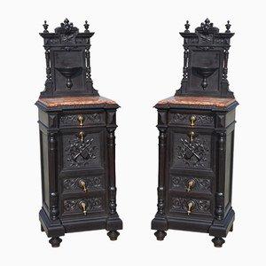 Antique Carved Dressers, Set of 2