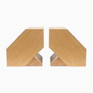 Fermalibri in legno di quercia chiaro, anni '60, set di 2