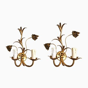 Hollywood Regency Gilded Metal Wall Lights, Set of 2