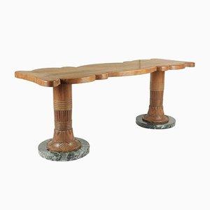 Tavolino da caffè in legno e marmo, anni '30