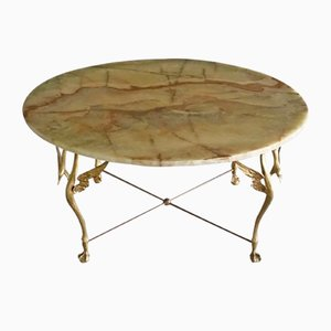 Brass Swan Coffee Table with Onyx Top, 1960s