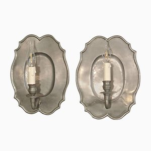 French Pewter Sconces, 1960s, Set of 2