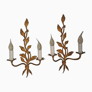 Mid-Century Modern Gilt Bronze Sconces, Set of 2
