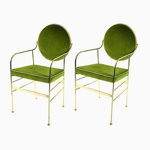 Sedie Luigina verdi e dorate di Paolo Calcagni per Sotow, set di 2