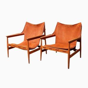 Schwedische Sessel aus Kunstleder von Hans Olsen für Viska Möbler, 1960er, 2er Set