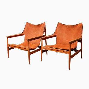 Swedish Suede Armchairs by Hans Olsen for Viska Möbler, 1960s, Set of 2