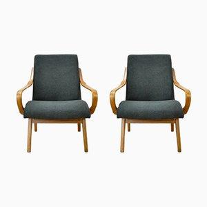 Schwarze tschechische Sessel, 1960er, 2er Set