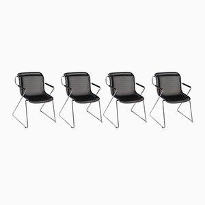 Penelope Chairs aus Chrom & schwarzem Metallgeflecht von Charles Pollock für Castelli, 1980er, 4er Set