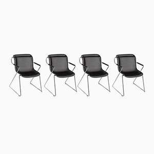 Penelope Chrome & Meshed Black Metal Chairs by Charles Pollock for Castelli, 1980s, Set of 4