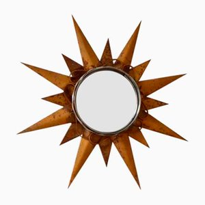 Mid-Century Bohemian Sunburst Mirror in Metal