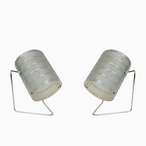 Lámparas de mesa Mid-Century bañados en níquel, años 60. Juego de 2