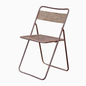 Mid-Century Folding Chair in Perforated Metal