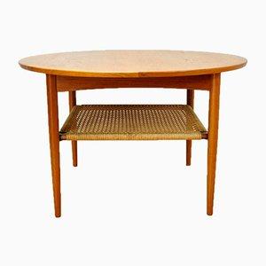 Tavolino da caffè in teak con mensola in corda di Møbelintarsia, anni '50