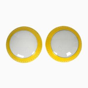 Lampade da soffitto industriali gialle in vetro e metallo, anni '50, set di 2