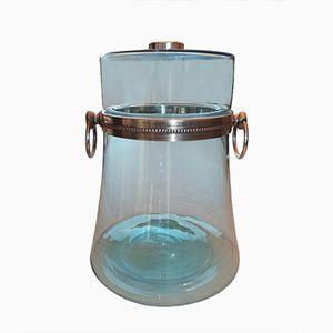 Recipiente da punch vintage in vetro soffiato blu e metallo argentato, anni '70