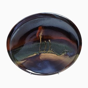 Large Abstract Glazed Terracotta Plate, 1960s