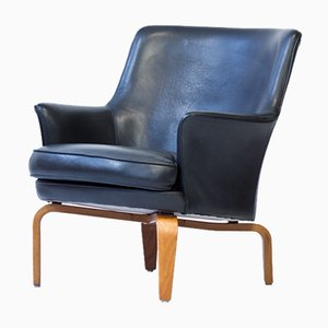Swedish Pilot Armchair in Black Leather & Stained Beech by Arne Norell, 1970s
