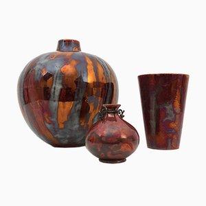 Lustro Vasen aus Keramik von Guido Andloviz für SCI Laveno, 1930er, 3er Set