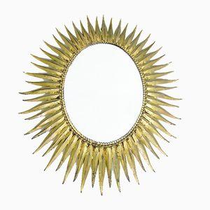 Specchio ovale a forma di sole, anni '50