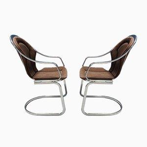 Mid-Century Stühle aus Chrom, 1970er, 2er Set