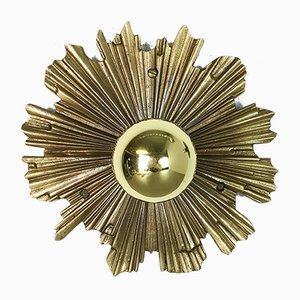 Italian Brass Sunburst Sconces, 1970s, Set of 2