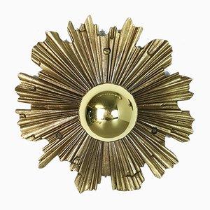Italian Brass Sunburst Sconces, 1970s, Set of 2