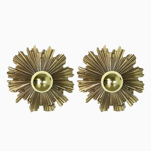Brass Sunburst Sconces, 1970s, Set of 2