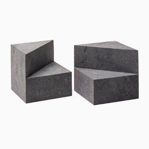 Fermalibri cubici Kilos in marmo nero Marquinia di Elisa Ossino per Salvatori, set di 2