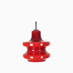 Lámpara colgante alemana de vidrio opalino rojo de Peill & Putzler, años 70