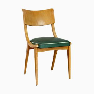 Scandinavian Wood & Leatherette Chair, 1950s
