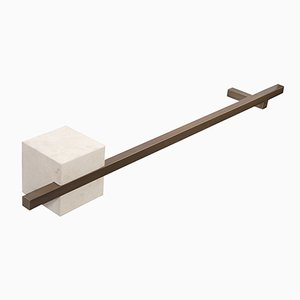 TABL-EAU Towel Rack in Crema d'Orcia Limestone and Brass by Silvia Fanticelli for Salvatori