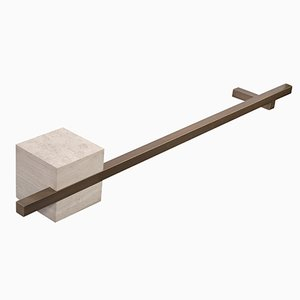 Toallero TABL-EAU de seda Georgette Limestone y latón de Silvia Fanticelli para Salvatori, 60 cm de largo