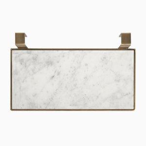 Piattino per sapone TABL-EAU in marmo bianco di Carrara e ottone di Silvia Fanticelli per Salvatori